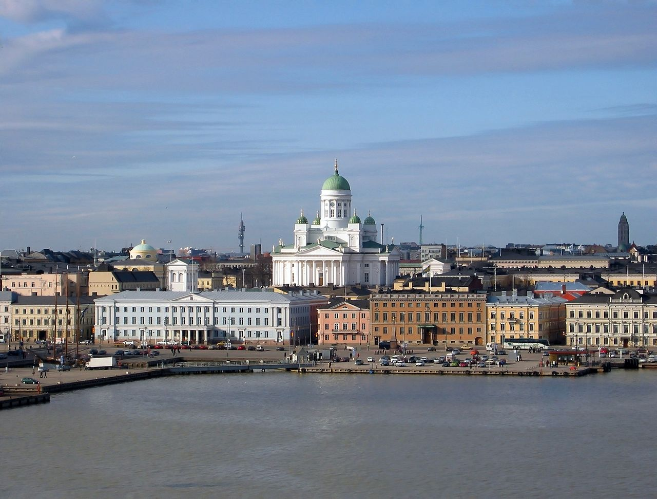 The Lutheran Cathedral in Helsinki, Finland, seen from the South Harbour in March, 2002.